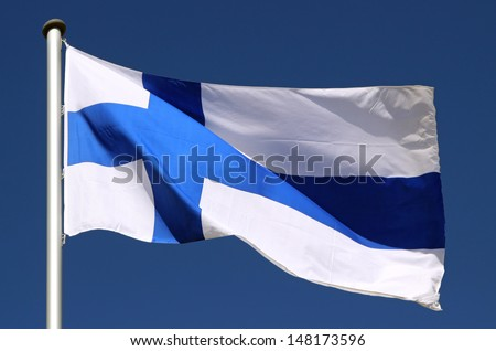Flag of Finland in the Sun