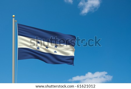 Flag of Flag of Honduras with flag pole waving in the wind on front of blue sky