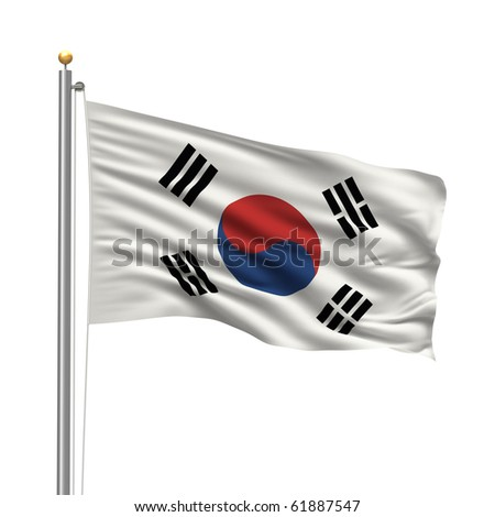 Flag of Flag of South Korea with flag pole waving in the wind over white background