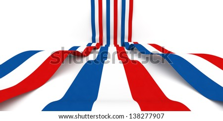Flag of France rolling over white background