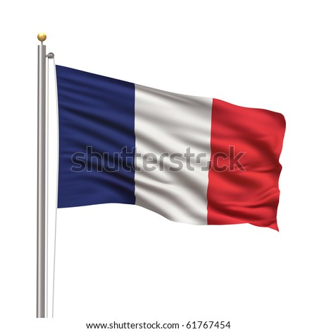Flag of France with flag pole waving in the wind on front of blue sky