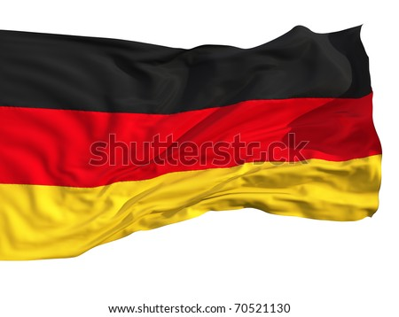 Flag of Germany, fluttered in the wind. Sewn from pieces of cloth, a very realistic detailed flags waving in the wind, with the texture of the material, isolated on a white background