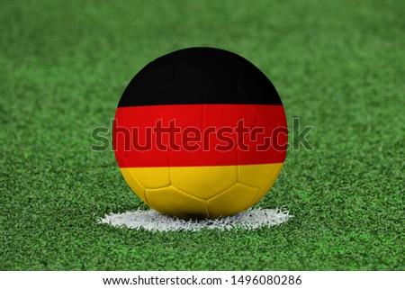 Flag of Germany on Football Germany Flag on soccer ball #1496080286