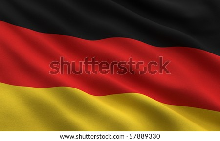 Flag of Germany waving in the wind - very highly detailed fabric texture - stock photo