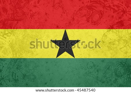 Flag of Ghana , national country symbol illustration rough grunge texture