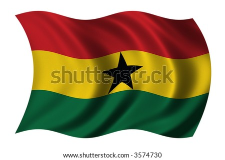 Flag of Ghana waving in the wind