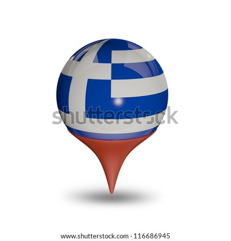 Flag of Greece pin isolated on white.