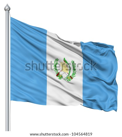 Flag of Guatemala with flagpole waving in the wind against white background