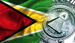 Flag of Guyana on a fabric with an American dollar close-up.