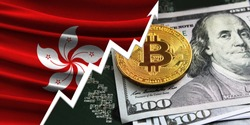 flag of Hong Kong and bitcoin coins