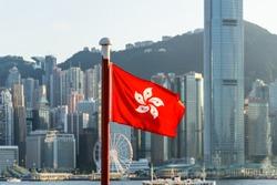 flag of hongkong with city skyline