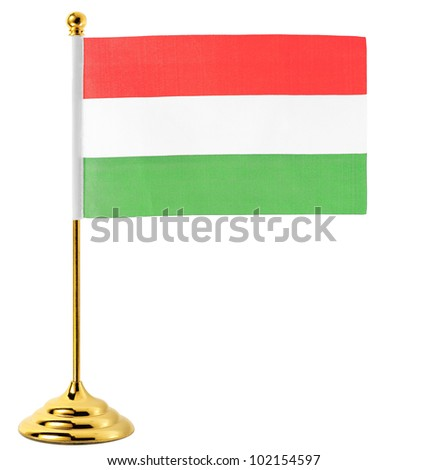Flag of Hungary hanging on the gold flagpole,Isolated on the white background