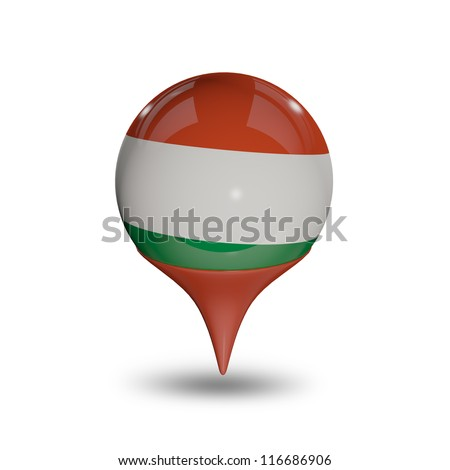 Flag of Hungary pin isolated on white.