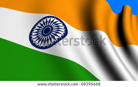 Flag of India against blue background. Close up.