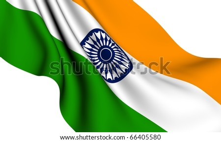 Flag of India against white background. Close up.
