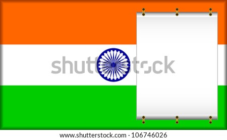 Flag of India. On a flag the banner is located. EPS version is available as ID 106441397.