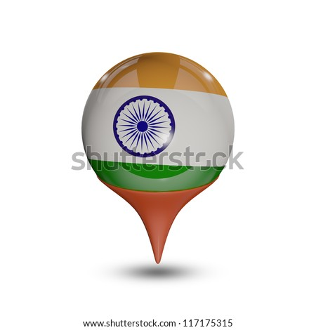 Flag of India pin isolated on white.