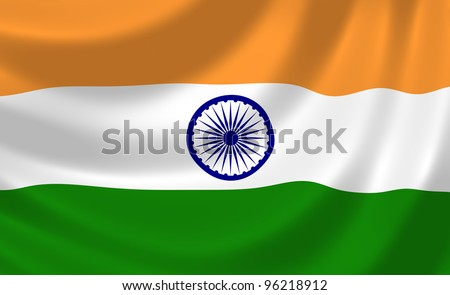 Flag of India waving in the wind detail