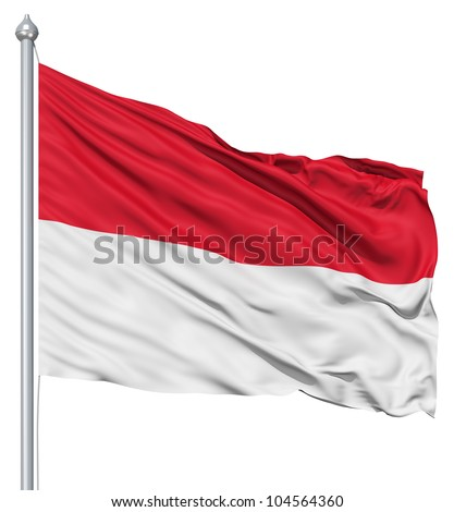 Flag of Indonesia with flagpole waving in the wind against white background
