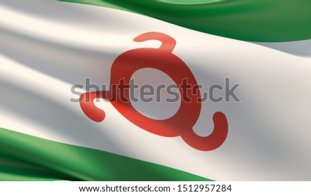 Flag of Ingushetia. High resolution close-up 3D illustration. Flags of the federal subjects of Russia.