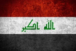 flag of Iraq or Iraqi banner on scratched vintage texture