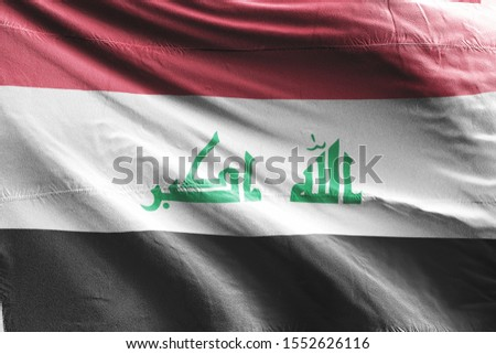 Flag of Iraq waving. National Iraq Flag for Independence day.