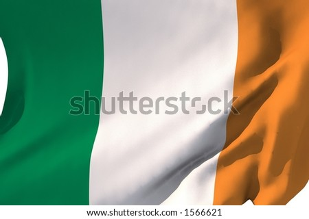 Flag of Ireland in the wind.