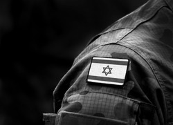 Flag of Israel on military uniform. Black and white. (collage).