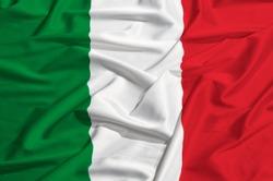 flag of Italy on a silk drape