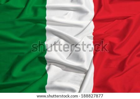 flag of Italy on a silk drape #188827877