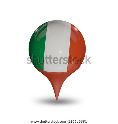 Flag of Italy pin isolated on white.