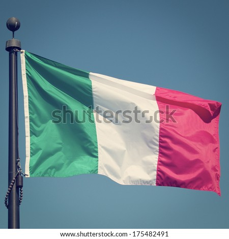 Flag of Italy with Retro Effect.