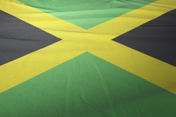 Flag of Jamaica cloth fabric. National Flag of Jamaica for Independence day.