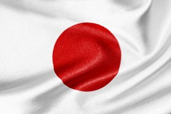 Flag of Japan on satin texture