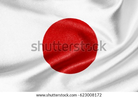 Flag of Japan on satin texture #623008172