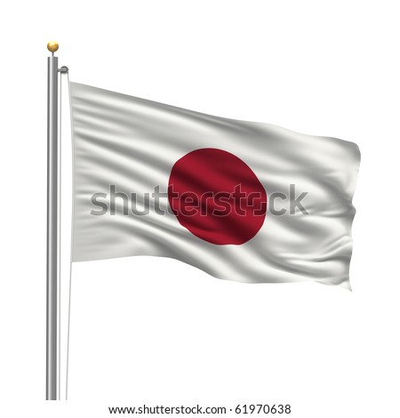 Flag of Japan with flag pole waving in the wind over white background