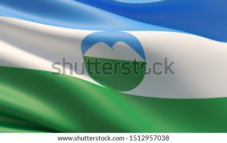 Flag of Kabardino-Balkaria. High resolution close-up 3D illustration. Flags of the federal subjects of Russia.