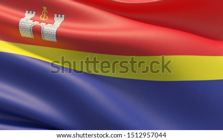 Flag of Kaliningrad Oblast. High resolution close-up 3D illustration. Flags of the federal subjects of Russia.