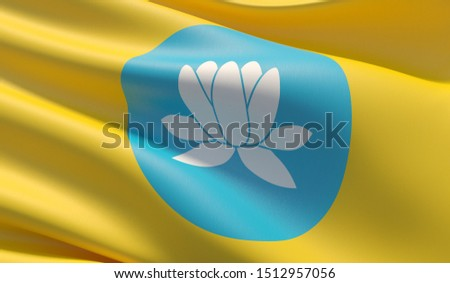 Flag of Kalmykia. High resolution close-up 3D illustration. Flags of the federal subjects of Russia.