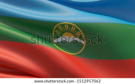 Flag of Karachay-Cherkessia. High resolution close-up 3D illustration. Flags of the federal subjects of Russia.