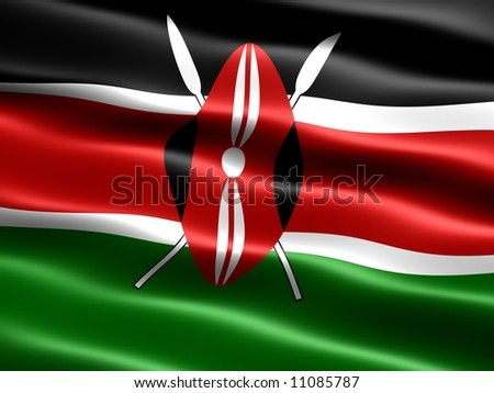 Flag of Kenya, computer generated illustration with silky appearance and waves