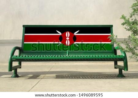 Flag of Kenya on bench. Kenya Flag on bench advertisement