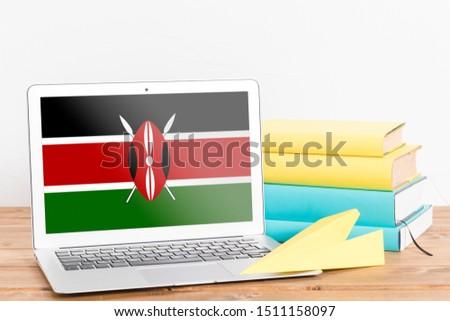 Flag of Kenya on Laptop. Kenya Flag on Screen.