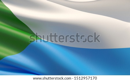 Flag of Khabarovsk Krai. High resolution close-up 3D illustration. Flags of the federal subjects of Russia.