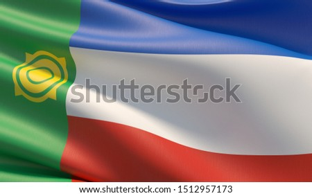 Flag of Khakassia. High resolution close-up 3D illustration. Flags of the federal subjects of Russia.