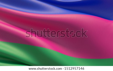 Flag of Kuban. High resolution close-up 3D illustration. Flags of the federal subjects of Russia.