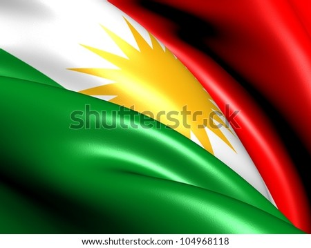 Flag of Kurdistan. Close Up.