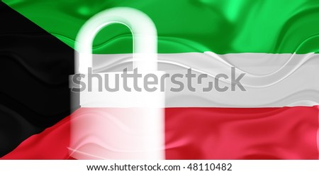 Flag of Kuwait, national country symbol illustration wavy security lock protection