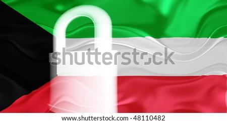 Flag of Kuwait, national country symbol illustration wavy security lock protection
