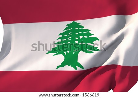 Flag of Lebanon in the wind.